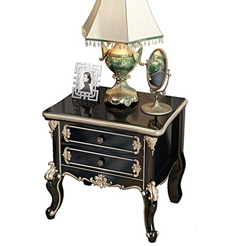 Best Buy! Nightstand Solid Wood Hand-Carved Classical European Style 3D Bed Bedroom Wardrobe Drawing...
