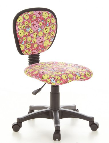 sedia ergonomica hjh hjh OFFICE 670165 Sedia da ufficio per bambini KIDDY TOP tessuto rosa giallo con smileys