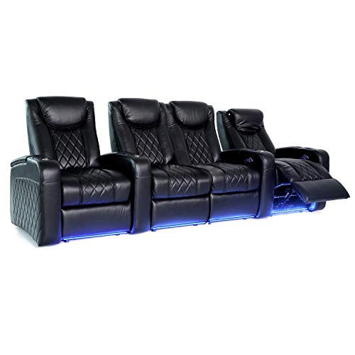 Octane Seating Azure LHR Home Theater Seats - Black Top Grain Leather - Power Recline - Motorized Lumbar & Headrest - Lighted Cup Holders - Straight Row 4 with Middle Loveseat
