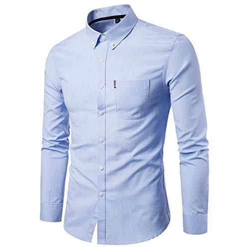 Camisas para Hombre Color sólido Regular Fit Slim Fit Un Bolsillo Clásico Básico Casual Camisas de Manga Larga para Primavera y Verano Medium