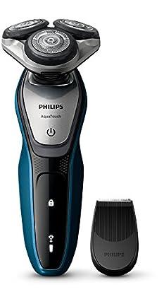 Philips AquaTouch S5420/06 - Afeitadora eléctrica, sin cable, uso en húmedo y seco, 45 min de uso/1 h carga, con tapa protectora del cabezal, battery-powered, color azul