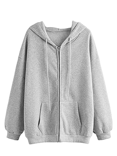 SHEIN Women's Long Sleeve Drawstring Drop Shoulder Zip Up Hoodie Sweatshirt Light Grey M