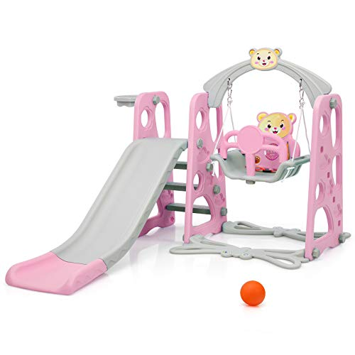COSTWAY 4-in-1 Toddler Climber and Swing Set with Removable Basketball Hoop, Long Slide, Easy Climb Ladder, Children Play Area for Outdoor and Indoor (Pink+Grey)