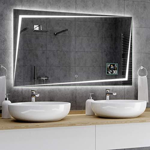 Alasta® Badkamerspiegel met LED-Verlichting - 100x80 cm - Model Berlín - Spiegel met Aanraaklichtschakelaar en Weerstation P2