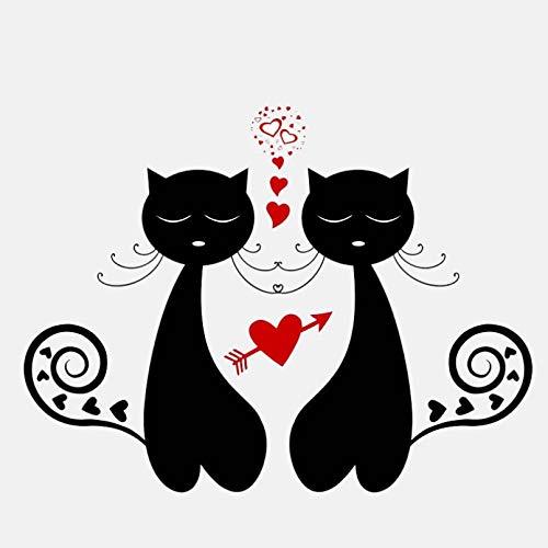 UYEDSR Pegatinas para coche, 2 unidades, 14,9 x 11,3 cm, diseño de dos gatos de amor