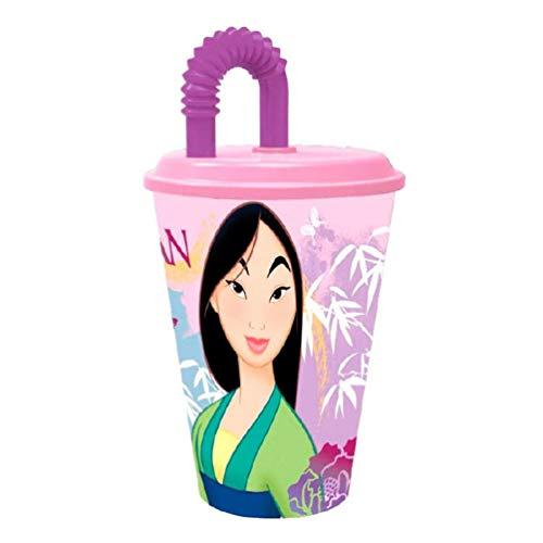 Mulan Rosa Verre avec canne et couvercle 430 ml avec paille