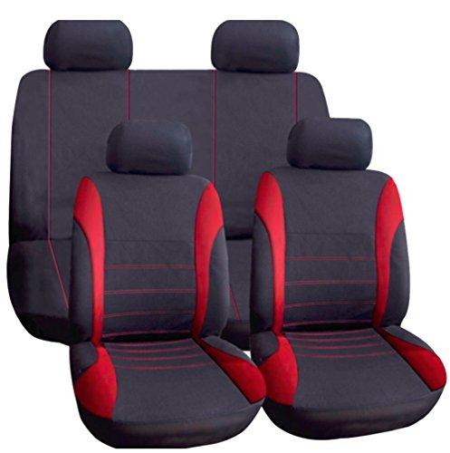 Wheels N Bits Universal Durable Cloth Car Seat Cover Full Set (Red & Black)