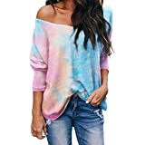 2YD8WH6 Nouveau T-Shirt Tie-Dye à Manches Longues Et Col en V pour Femmes d'automne Et d'hiver