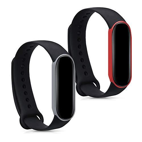 kwmobile 2X Pulsera Compatible con Xiaomi Mi Smart Band 5 / Mi Band 5 - Brazalete de Silicona Negro/Rojo/Negro/Gris sin Fitness Tracker