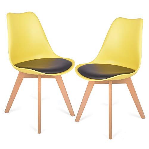 2er Set Esszimmerstühle mit Massivholz Buche Bein, kein recycelter Kunststoff Gepolsterter lStuhl Küchenstuhl Holz (Zitronengelb)