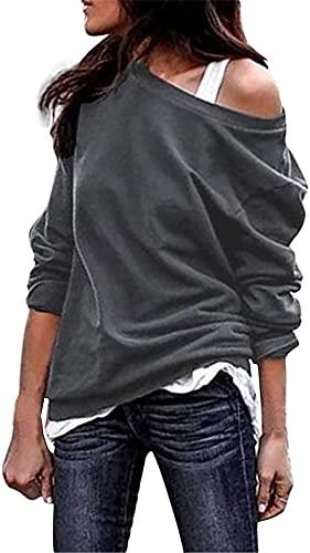 Kneris Mujer Sudadera Manga Larga Casual Cuello Redondo Jersey Suéter