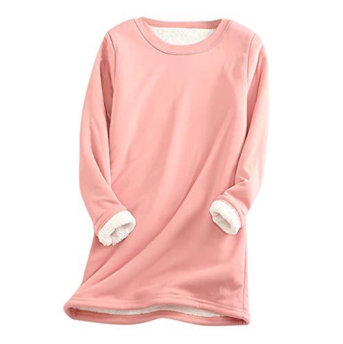 Womens Fleece Sweatshirt Winter Velvet Thick Warm Crew Neck Long Sleeve Underwear Plus Size Solid Color Pullover Tops is $12 (52% off)
