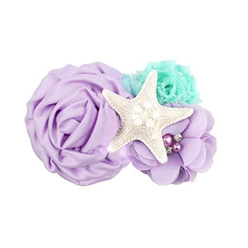 YanJie Aqua Lavender Glitter Starfish Mermaid clip for Baby Birthday Gift (clip, lavernder)