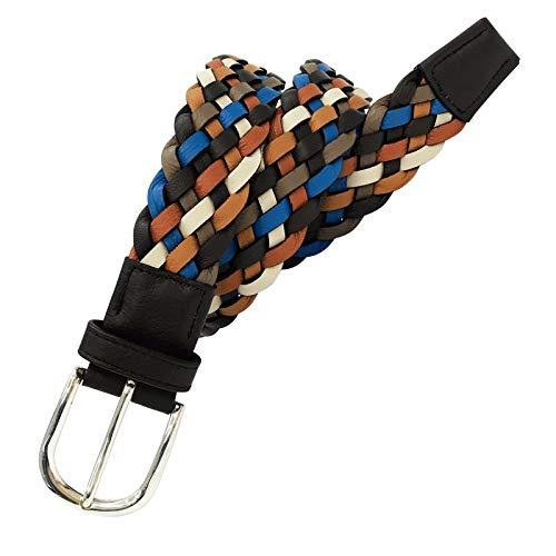 Leyva - Cinturón trenzado de piel de Napa de hombre (85 cm)