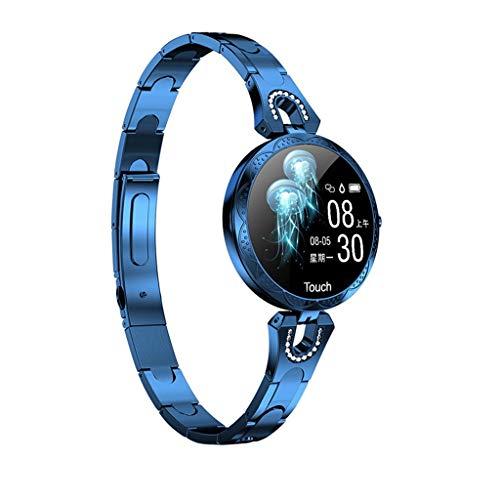 GLEMFOX Women's Smart Bracelet Breukvast gehard glas wijzerplaat hartslagfrequentie bloeddrukmonitor dames sporthorloge Bluetooth Smart Bracelet blauw