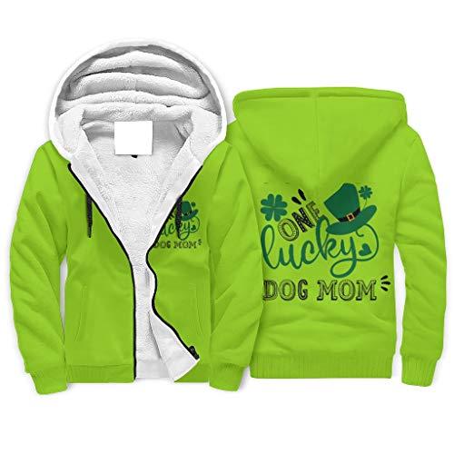 IOVEQG Sudadera de forro polar con capucha y bolsillo para padre con diseño de perro de la suerte