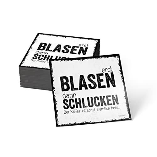 how about tee? Magnet-Sticker: Erst Blasen, dann Schlucken. D. - Kühlschrankmagnet mit Spruch
