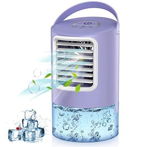 Mobile Klimageräte Mini Klimaanlage Klein,4 In 1 Persönlicher Luftkühler,Luftbefeuchter Wasserkühlung Ventilator mit Nachtlicht, 2/4h Timing 3 Modi 7 Farben LED Air Cooler für Zuhause und Büro