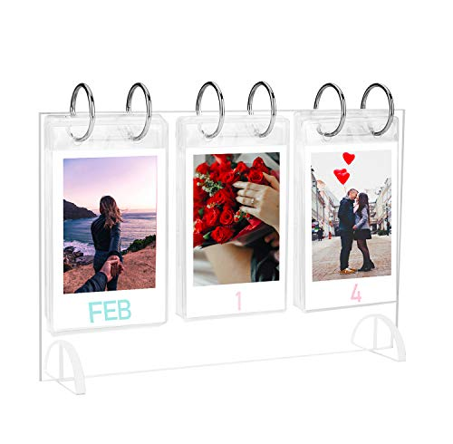 WINKINE Colección de mini álbume de foto de escritorio| estilo calendario y voltear de acrílico para mesa| película Instax Mini 7s 8+ 9 25 26 50s SP-2 Polaroid Snap PIC-300 Z2300 regalo 26 bolsillos