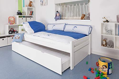 Kinderbett/Jugendbett Easy Premium Line K1/2h inkl. 2. Liegeplatz und 2 Abdeckblenden, 90 x 200 cm Buche Vollholz massiv weiß lackiert