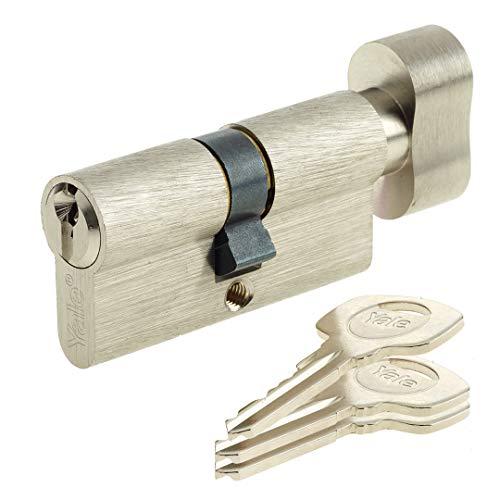 Yale YC500+ Cylindre de Serrure à Bouton 30x30 mm pour Porte Extérieure/Entrée, 5 Goupilles, 3 Clés, Nickelé
