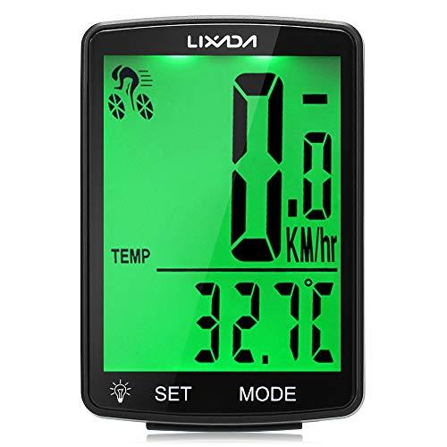 Lixada Fahrradcomputer Drahtloser multifunktionaler LCD-Bildschirm Fahrrad Regendichter Tachometer Kilometerzähler 2,8 Zoll Wasserdicht mit Temperatur, Stoppuhr, Kalorienverbrauch