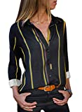 Astylish Women Color Block Button Down Long Roll up Sleeves Work Shirt Blouse Tops Large Size 12 14 Yellow