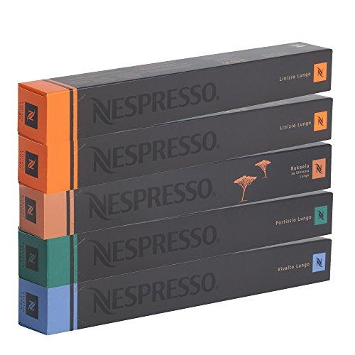 Nespresso Original Lungo Set 5 Stangen à 10 Kapseln, 50 Kapseln - 20 Kapseln Linizio, 10 Kapseln Fortissio, 10 Kapseln Vivalto, 10 Kapseln Bukeela Lungo