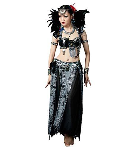 NANXCYR Gonna Danza del Ventre da Donna Costume Tribale Gonna in Poliestere Abito Bollywood Vestito da Ballo di Halloween Fatto a Mano,Nocollar,M