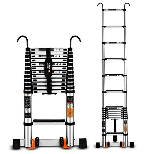 XZZ Escalera Extensible De 3.9M, Escalera Plegable De Aluminio Multifuncional, Escalera Portátil para Uso Doméstico O De Emergencia para Ático Compacto, Soporte De Carga De 150 Kg
