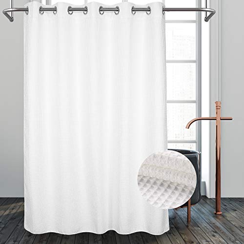 "River Dream Hotel Grade No Hooks Needed Shower Curtain with Snap in Liner,Water Repellent, Machine Washable (White, 71""x86""(W/Liner))"