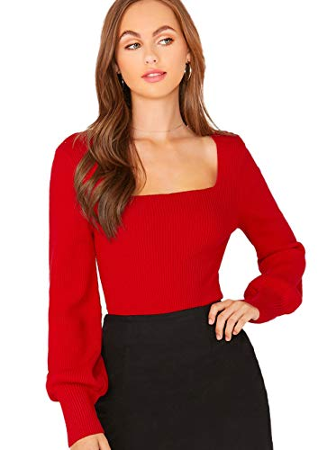 Material: 20% Cotton, 75% Polyester, 5% Spandex Gigot Sleeve, Rib-knit, Leg-of-mutton Sleeve, Long Sleeve, Slim Fit, Pullover, Elegant Occasion: Suitable for fall, spring, vacation, work, school, casual outtings, party, home and daily wear. Care: han...