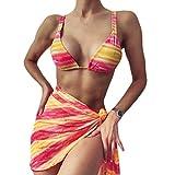 Timagebreze Traje de BaaO Sexy de 3 Piezas para Mujer Bikini Acolchado Push Up Traje de BaaO BrasileeO Tanga Bikini Traje de BaaO Falda de Mujer Multicolor S