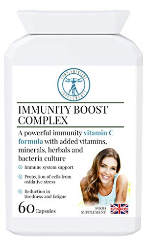 Complementary Supplements | Immunity Boost Complex | Max Strength Multi Vitamin C | Elderberry | Zinc | Selenium | Natural Immune System Support | Herbal Extracts + Probiotic | 60 caps