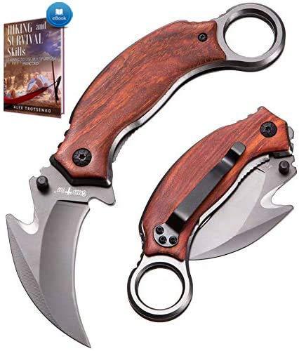 Karambit Knife - Karambit Folding Knife - Folding Karambit Knives - CSGO Raptor Claw Knifes Wood Handle with Clip Pocket Krambite - Best Combat Carambit for Hunting Camping Hiking EDC for Men X-52