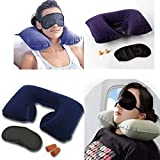 aldo 3 in 1 Travel Selection Comfort Fabric Neck Pillow, Eye Shade Mask, Ear Plugs for Men and Women (Multicolou