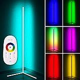 LED Stehlampe 20W Dimmbar Stehleuchte mit RGB und Fernbedienung, Modern Farbwechsel Eckleuchte Standlampe für Wohnzimmer Schlafzimmer, Schwarz [Energieklasse A],147x 40cm,Weiß,RGB