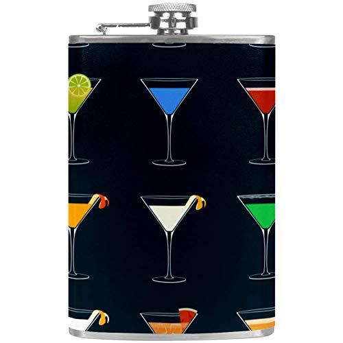 Petaca a prueba de fugas de licor, botella de 7.6 onzas, taza de flagón, funda de cuero con dibujos animados de animales de zoo, contenedor de bolsillo Avatar para bebidas discretas de whisky alcohol licor Color5.