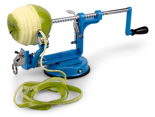 Apple Peeler and Corer by Cucina Pro - Long Lasting Chrome Cast Iron with Countertop Suction Cup, Teal