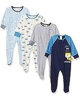Gerber Baby Boys' 4 Pack Sleep N' Play Footie, Bear Fox Blue, 6-9 Months