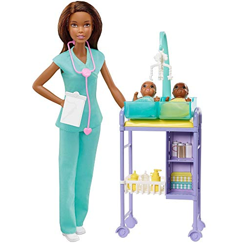 Barbie Baby Doctor Playset with Brunette Doll, 2 Infant Dolls, Exam Table and Accessories, Stethoscope, Chart and Mobile for Ages 3 and Up