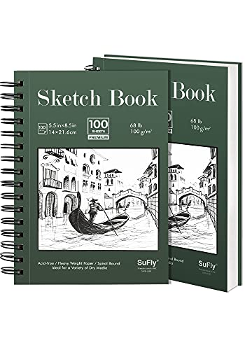 SuFly Sketchbook, 5.5 X 8.5 inches (68lb/100gsm), 100 Sheets Each, Spiral Bound Sketch Pad, Acid Free Sketchbook Painting Writing Paper for Artist and Beginners (2 Pack)