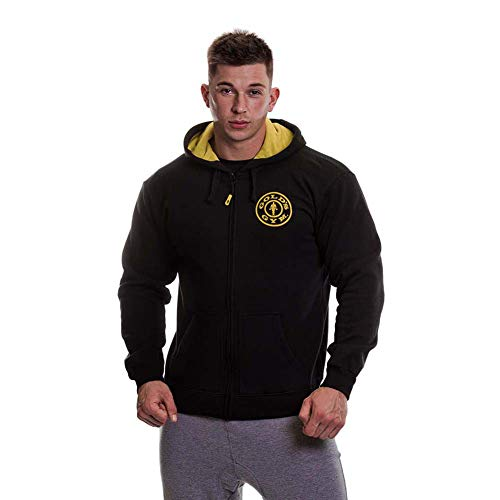 Golds Gym Herren Hoodie Zipper, schwarz, L