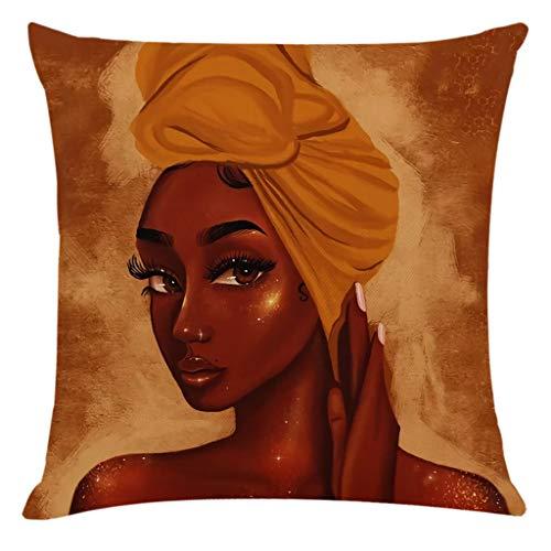 Houshelp African Woman Print Retro Cotton Linen Soft Throw Pillow Covers Home Decor Cushion Case for Sofa Bedroom Car
