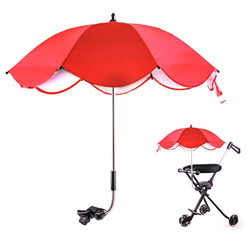 Demeras Multifuncional Niños Cochecito Sombra Kid Cochecito Sombrilla Paraguas para bicicletas para Niños Bebé (paraguas rojo)