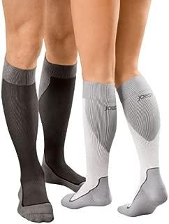 JOBST Sport Compression Socks, 15-20 mmHg, Knee High, X-Large, Black/Grey
