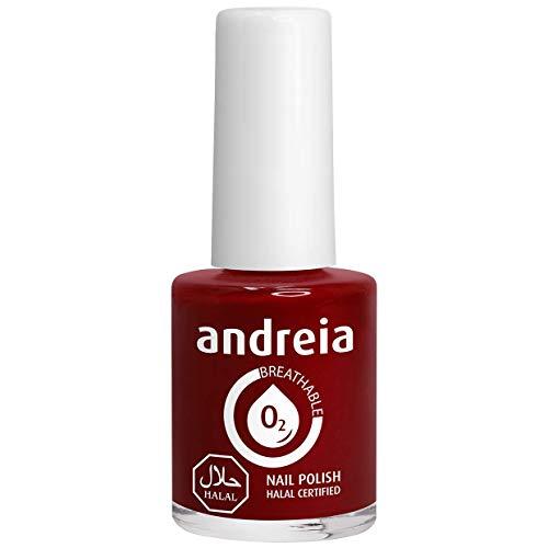 Andreia Halal Esmalte de Uñas Transpirable - Permeable Al Agua - Color B14 Roja - Sombras de Rosa | 10,5 ml