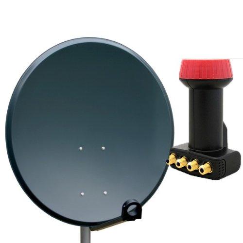 PremiumX Antenne 60cm Sat Schüssel aus ALU FullHD HDTV Satelliten Camping Spiegel 60 cm Anthrazit + Megasat Quad LNB 0,1dB