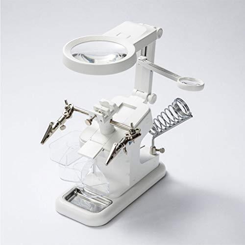 Bettgitter LED Dritte Hand Lupe,3X/4.5X/25X Lupe und 10 LED beleuchtete helfende Hand mit Klemme, Lötkolbenhalter Krokodilklemmen Zum Löten Reparatur Hobby und Handwerk (Color : White)