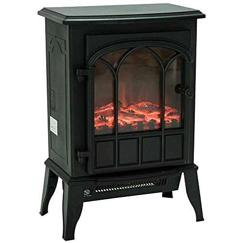 HOMCOM Freestanding Electric Fireplace Heater Stove with LED Flame Effect...